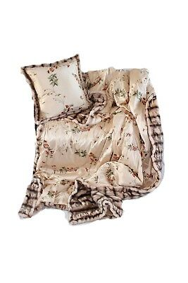 Luxurious Throw New 100% Silk And Faux Fur Throw And Pillow Set