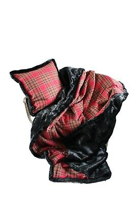 Luxurious Throw New 100% Wool Plaid And Faux Fur Throw And Pillow Set