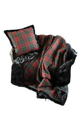 Luxurious Throw 100% Wool Plaid And Faux Fur Throw And Pillow Set New