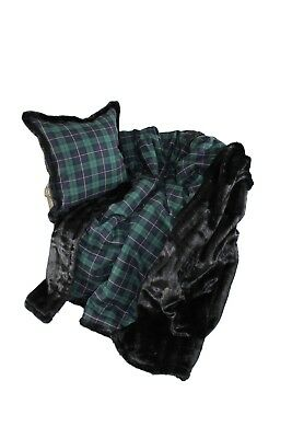 Luxurious Throw 100% Wool Plaid And Faux Fur Throw And Pillow Set New Beautiful