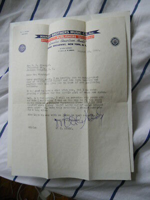 wc handy typed and signed letter and signed st. louis blues music sheet booklet