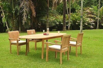 "Napa A-grade Teak Wood 5pc Dining 94"" Oval Table 4 Stacking Arm Chair Set New"