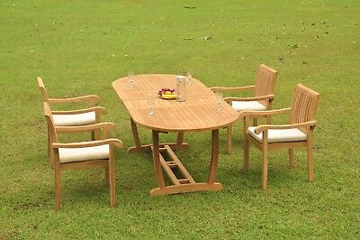 "Napa A-grade Teak Wood 5 Pc Dining 94"" Mas Oval Table 4 Stacking Arm Chair Set"