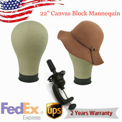 "Canvas Block Head Mannequin Head Wig Display With Mount Hole 22"" Us Fast Ship"