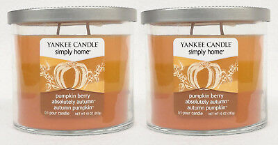 2 Jars Yankee Candle Pumpkin Berry Absolutely Autumn Simply Home 2-wick 10 Oz