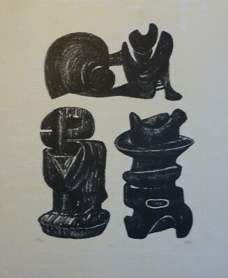 Henry Moore. Three Structured Forms - Signed And Numbered Lithograph