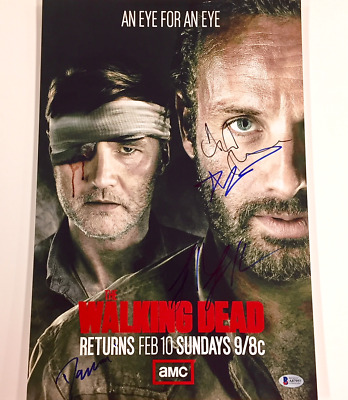 The Walking Dead X5 Cast Signed 12x18 Photo W/ Beckett Bas Coa ~lincoln