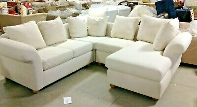Pottery Barn Charleston Round Arm 4 Piece Sectional Sofa Loveseat Chaise Corner