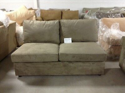 Pottery Barn Pearce Couch Sofa Sectional Pewter Everyday Suede Armless Loveseat