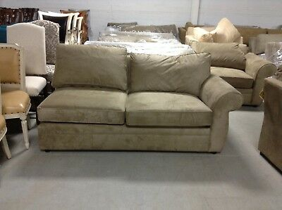 Pottery Barn Pearce Couch Sofa Sectional Wheat Everyday Suede Right Arm Loveseat