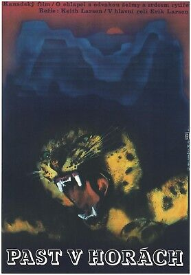 Trap On Cougar Mountain Orig. Czech A3 Artistic Movie Poster 1972 Keith Larsen