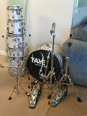Taye Rock Pro Series 6 Piece Drum Set - Silver Sparkle Throw-back