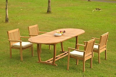 A-grade Teak 5pc Dining 94 Mas Oval Table Leveb Stacking Arm Chair Set Outdoor
