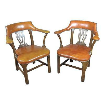 vintage english office leather chairs w/round back a pair