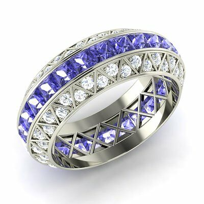 certified tanzanite and si/gh diamond wedding band/ring in white gold 3.42 ct