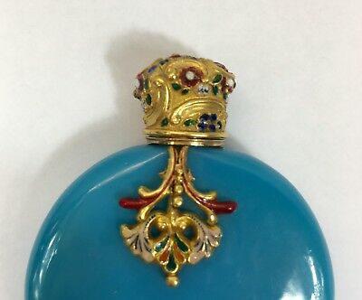 Victorian Light Blue Scent Bottle 15ct Tested Gold With Enamel Highlights