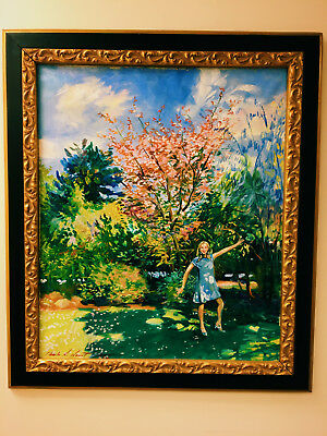Stunning Ca.1968 Listed Artist Springtime Young Lady Painting Oil/canvas W/