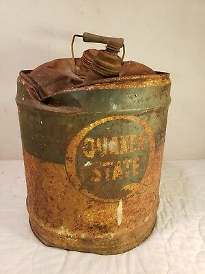 Super Cool Authentic Destroyed Rust Patina Quaker State 5 Gal. Oil Can - Cool!