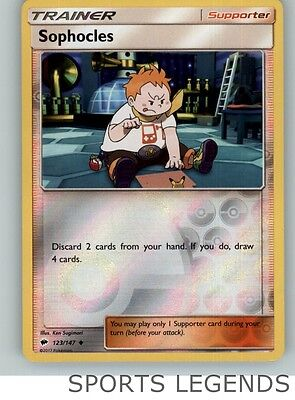 2017 pokemon Burning Shadows reverse holo Sophocles 123/147