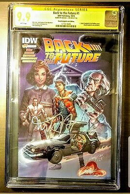 Back To The Future #1 Cgc 9.9 Mint Signed Michael J. Fox Campbell Exclusive Vhtf