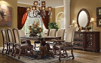 """Coruna Old World 80"""" - 95"""" 7pc Double Pedestal Dining Table Rich Wood Finish"""