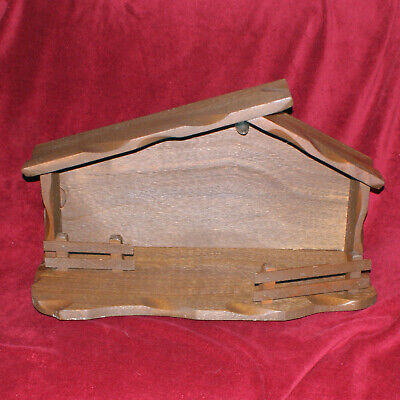 Vintage Mid-century Modern Nativity Scene Stable Solid Wood 25 Inches Long