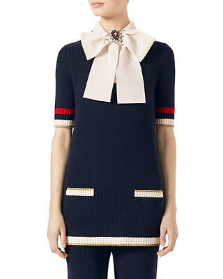 Gucci Puccy Bow Knitted Top Blue Cotton Size Large Brand New Current Season