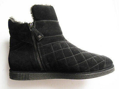 auth chanel cc bottines shearling fur boots 41.5 black suede quilted zipper