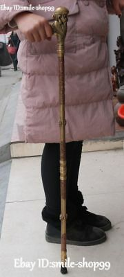 """35"""" Old China Copper Shouxing God Older Head Crutch Walking Stick Statue Pair"""