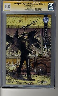 Walking Dead # 1 Skybound 5th Anniversary -cgc 9.8 White Pages Ss Robert Kirkman