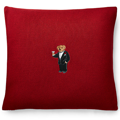 Polo Ralph Lauren Martini Bear Throw Pillow. Nwt. 18x18 Inch. Red Color