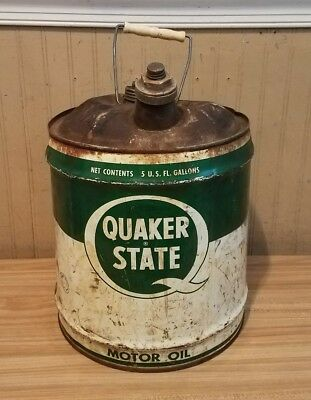 Vintage 5 Gallon Oil Can Advertising Quaker State Motor Oil Metal Can