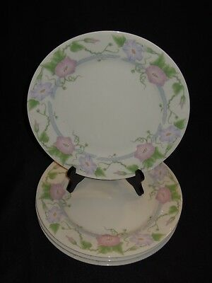 "Set Of 4 Gibson Housewares Morning Glory Pink Flower 10 3/8"" Dinner Plates"