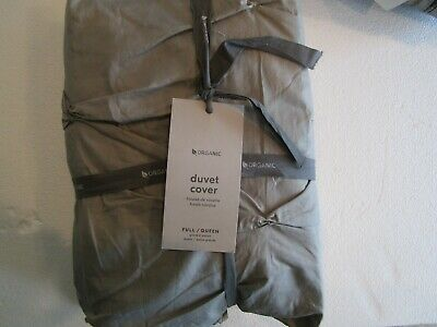 West Elm Organic Pintuck Duvet Cover Full Queen  Feather Gray + 2 Euro Shams New