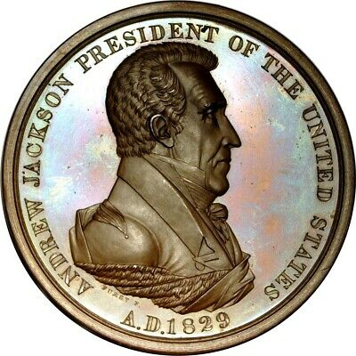 1829 Andrew Jackson Peace Medal Julian Ip-14. First Size, Second Reverse. Cho...