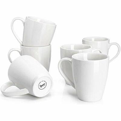 Sweese 6201 Porcelain Mugs - 16 Ounce For Coffee, Tea, Cocoa, Set 6, White Cups