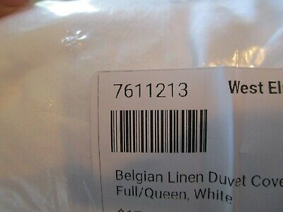 West Elm Belgian Flax Linen Full Queen Duvet Cover White 2 Euro Shams New Wo Tag