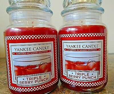 Yankee Candle Triple Berry Punch 22 Oz Lot Of 2 Retired Limited Summer Edition