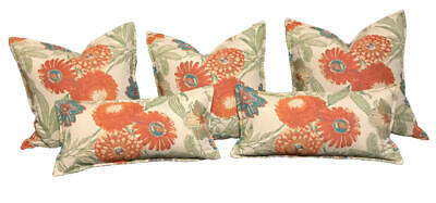 Floral Luxury Accent Throw Pillows. Set Of 5. Tapestry Fabric, Feather And Down