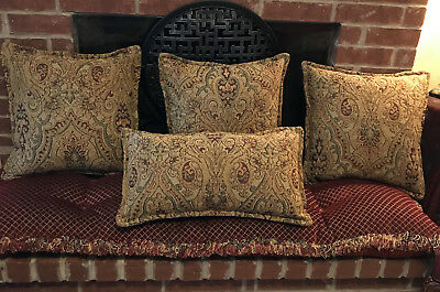 Paisley High End Luxury Throw Pillows. Set Of 4. Tapestry Fabric, Feather
