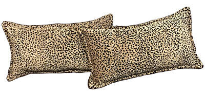 Cheetah Decorative Luxury Accent Throw Pillows Lumbar. Set Of 2 Feather And Down
