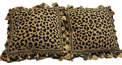 Jaguar High End Throw Pillows. Set Of 2. Tapestry Fabric Insert Feather Down