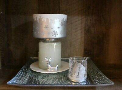 Yankee Candle Crackle Penguin V/h + Snowflake Shade + Silver Tray + Deer Plate