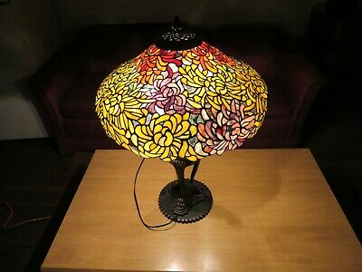 Tiffany Reproduction Spidermum Large Stained Glass Shade 22 Inch