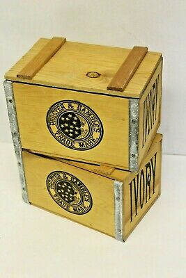 """2x """"vintage"""" Style Ivory Soap Small Wood Metal Crate Procter Gamble Box"""