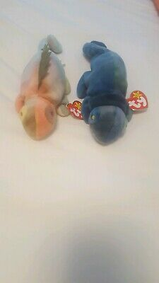 "Extremely Rare Ty Actual ""iggy"" & Error  ""rainbow"" Retired Beanie Baby Set Plus"