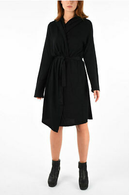 Rick Owens Women Coats And Trench Coats Black Spa Robe Knit Coat