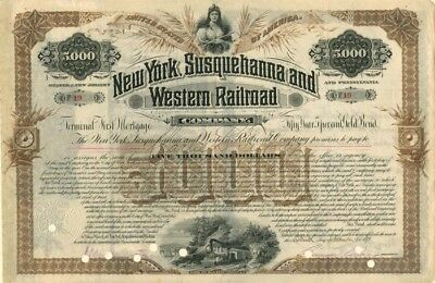 New York, Susquehanna And Western Rairoad Company Bond Issued To Charles L. Tiff