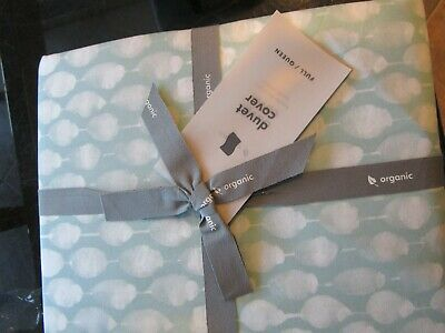 West Elm Organic Stamped Dot Duvet Cover Full Queen Light Pool 2 Standard Shams