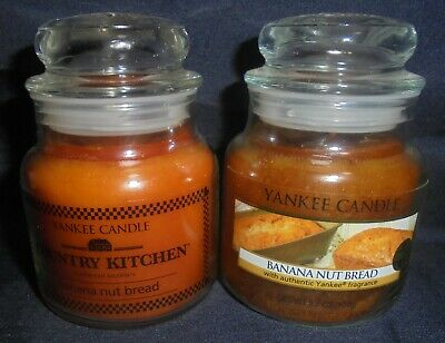 Yankee Candle & Country Kitchen - 2x Banana Nut Bread 3.7 Oz Candles ~ Free Ship